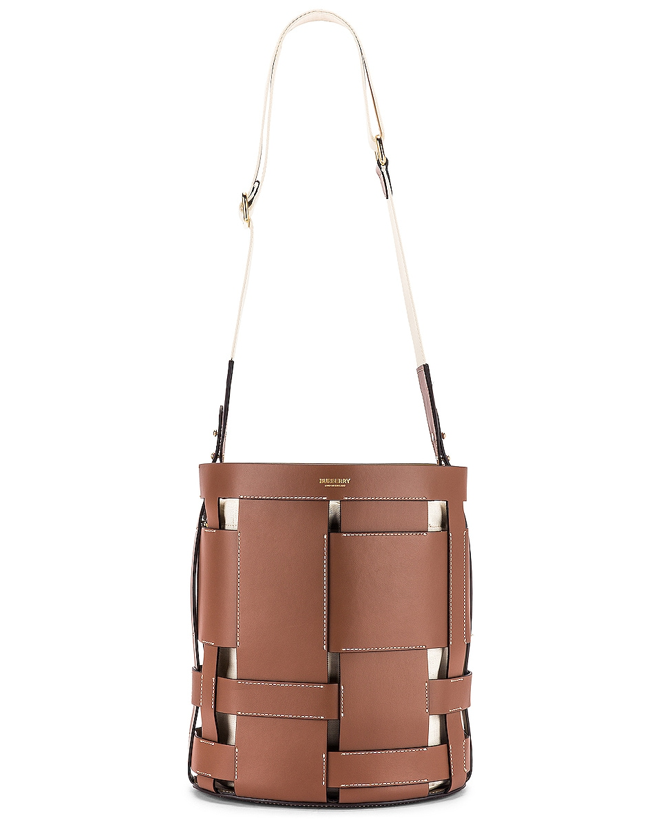 Image 6 of Burberry Small Foster Bucket Bag in Malt Brown