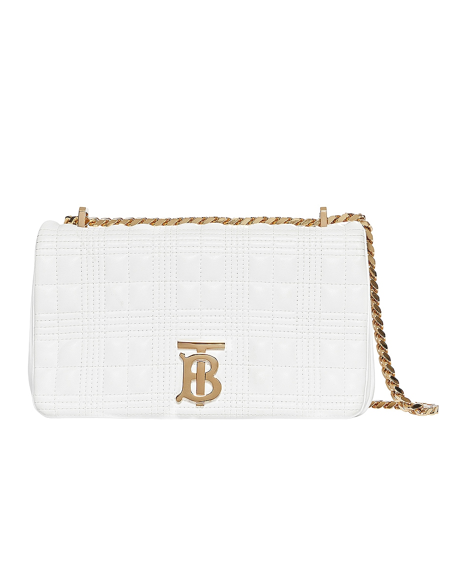 Image 1 of Burberry Small Soft Leather Crossbody Bag in White