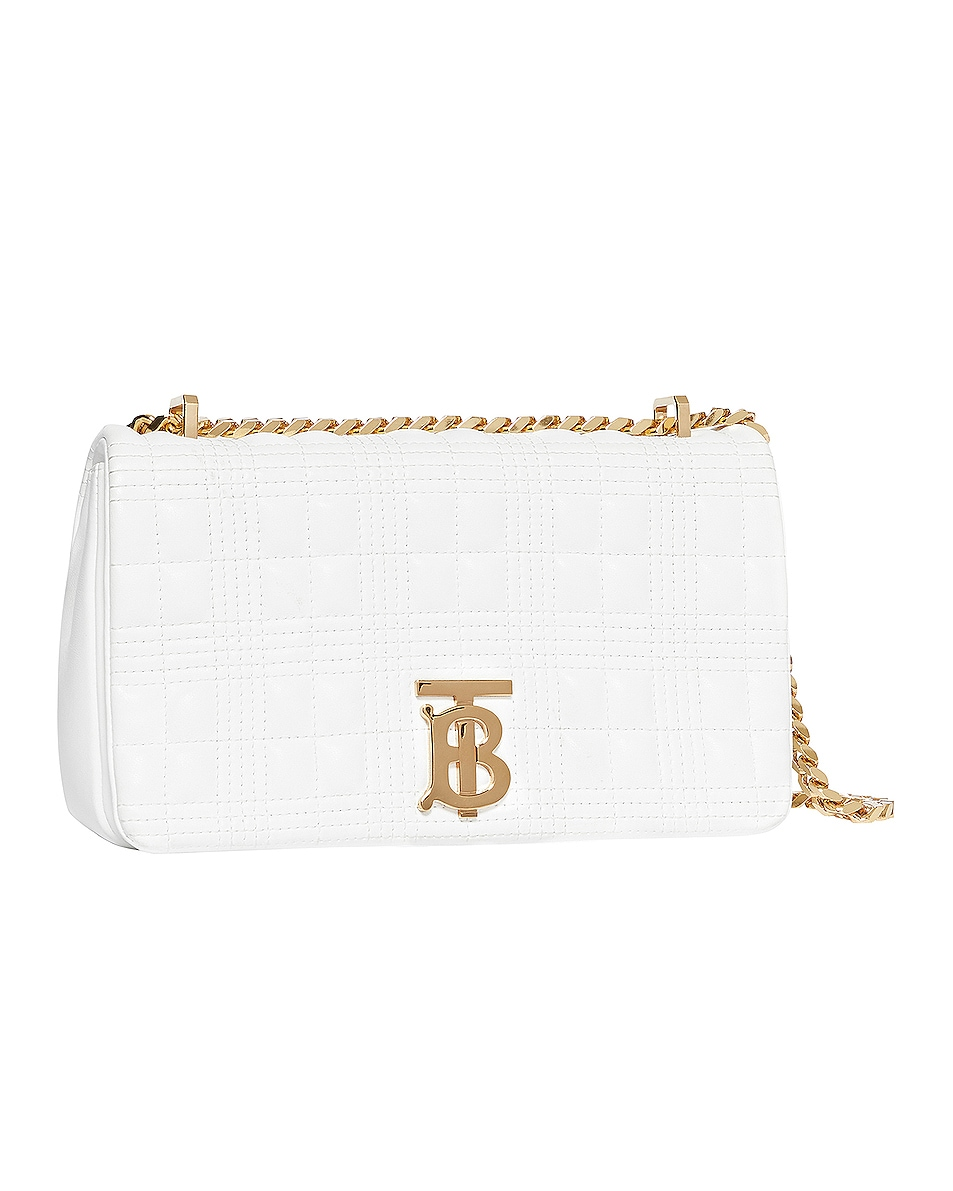 Image 3 of Burberry Small Soft Leather Crossbody Bag in White