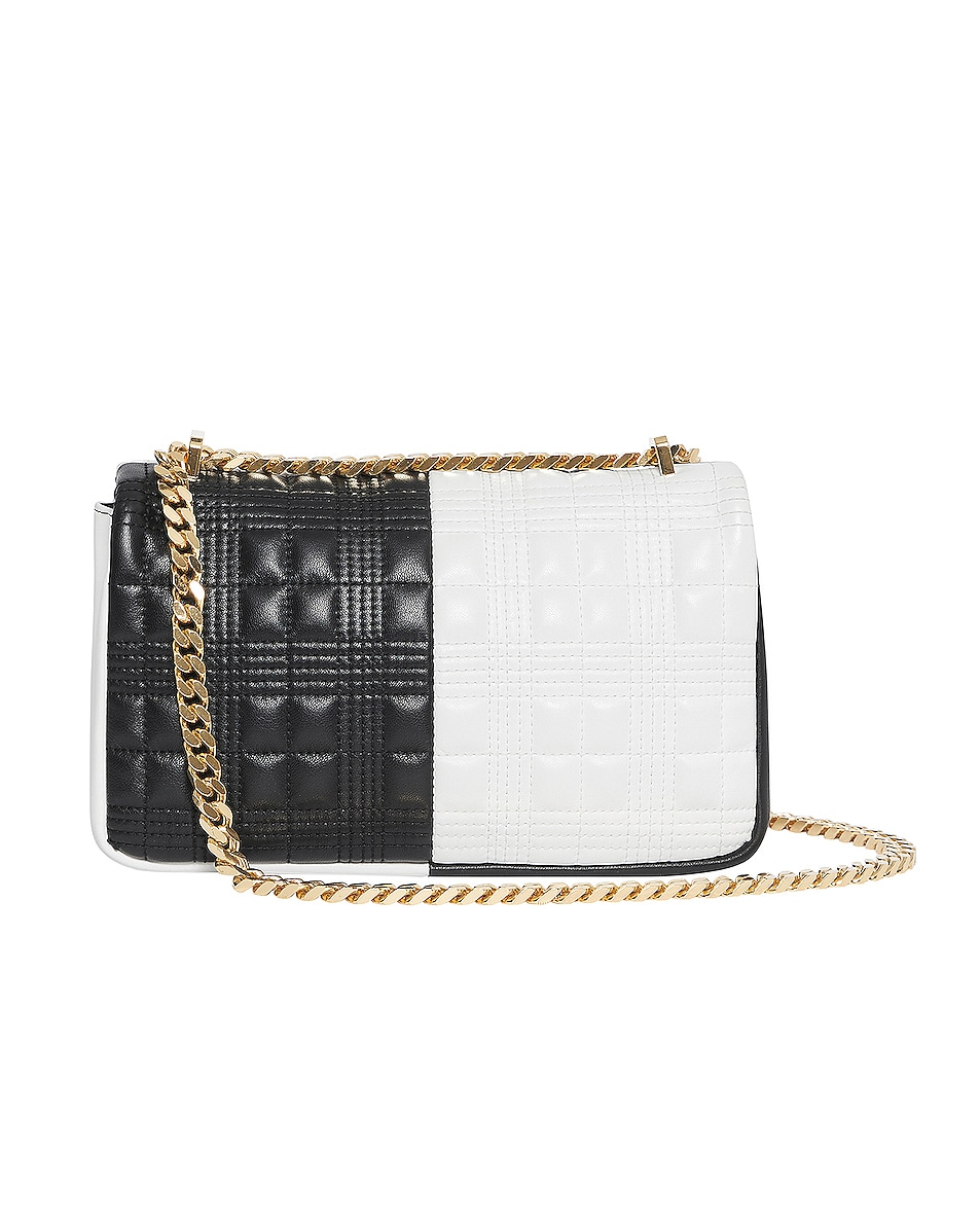Image 2 of Burberry Small Soft Leather Split Crossbody Bag in White & Black