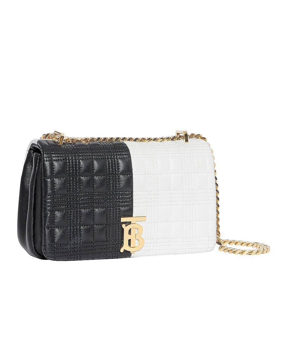 Image 3 of Burberry Small Soft Leather Split Crossbody Bag in White & Black
