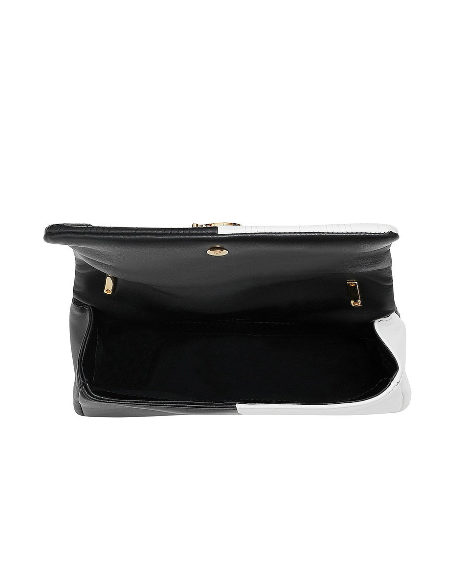 Image 4 of Burberry Small Soft Leather Split Crossbody Bag in White & Black