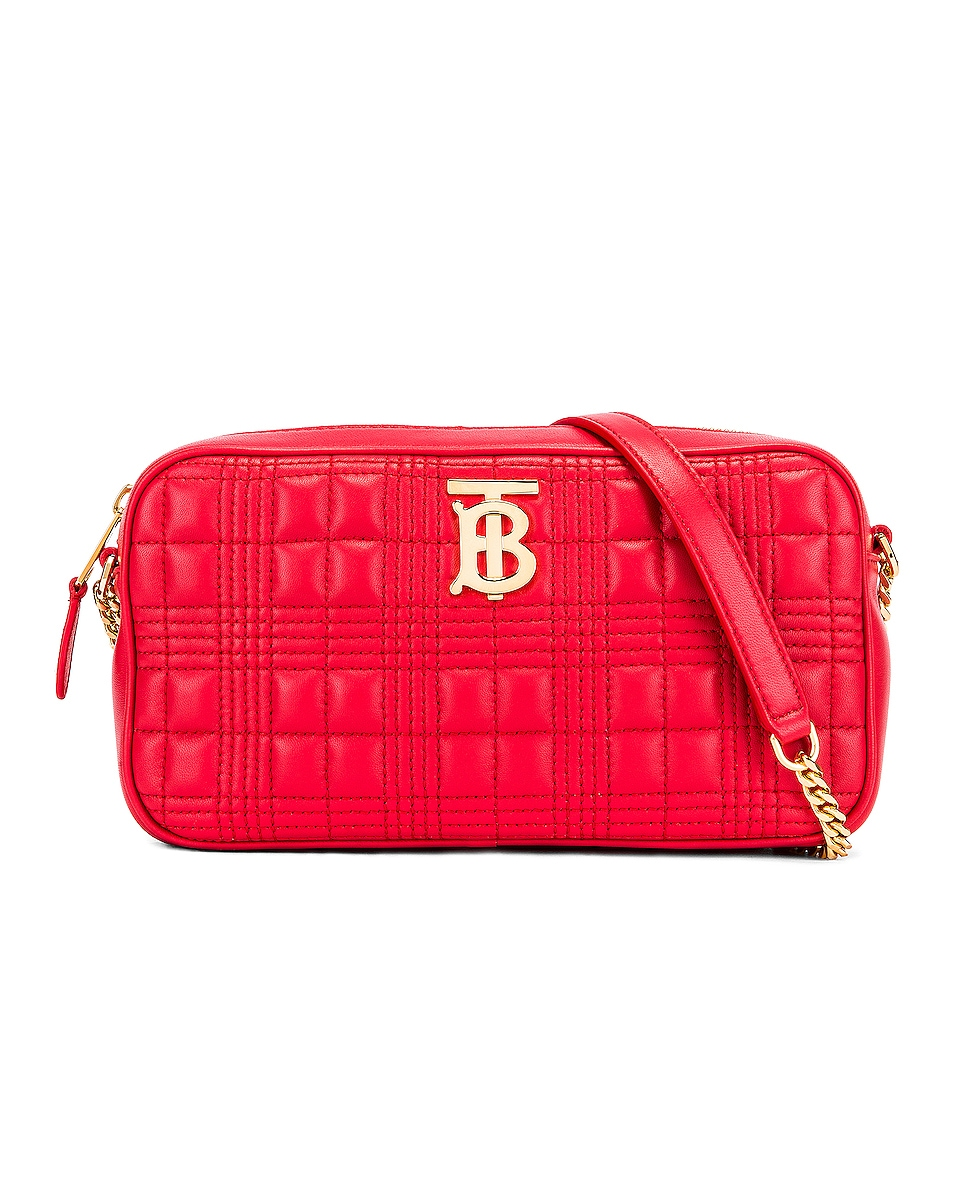 Image 1 of Burberry Small Leather Quilted Check Elongated Camera Bag in Bright Red