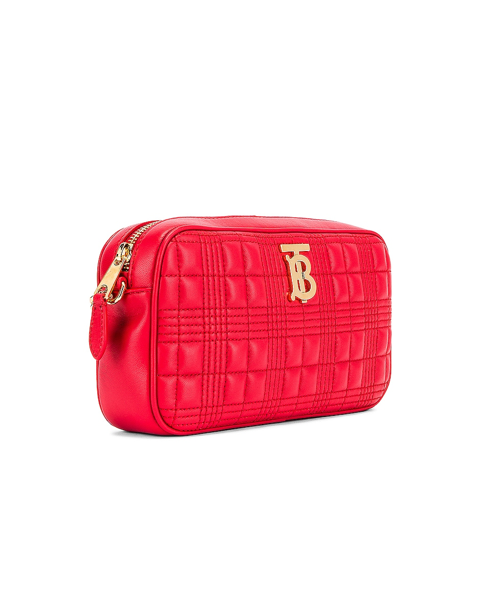 Image 4 of Burberry Small Leather Quilted Check Elongated Camera Bag in Bright Red