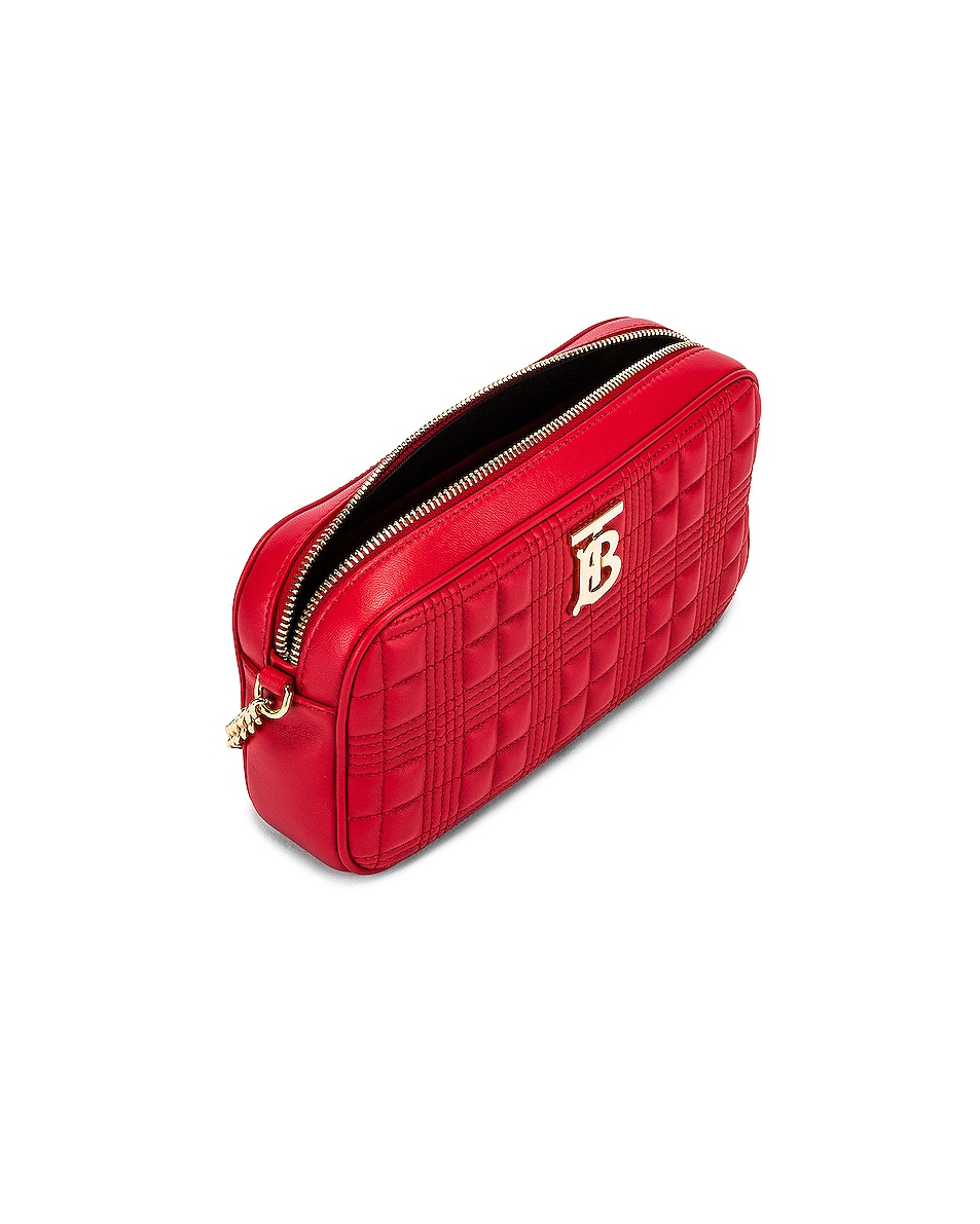 Image 5 of Burberry Small Leather Quilted Check Elongated Camera Bag in Bright Red