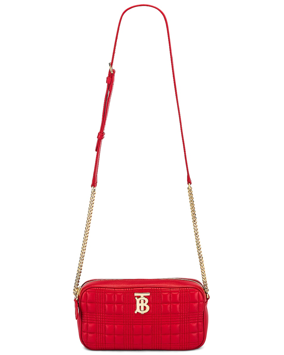 Image 6 of Burberry Small Leather Quilted Check Elongated Camera Bag in Bright Red