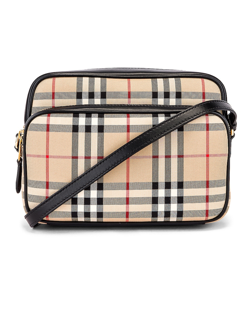 Image 1 of Burberry Medium Vintage Check Camera Bag in Archive Beige