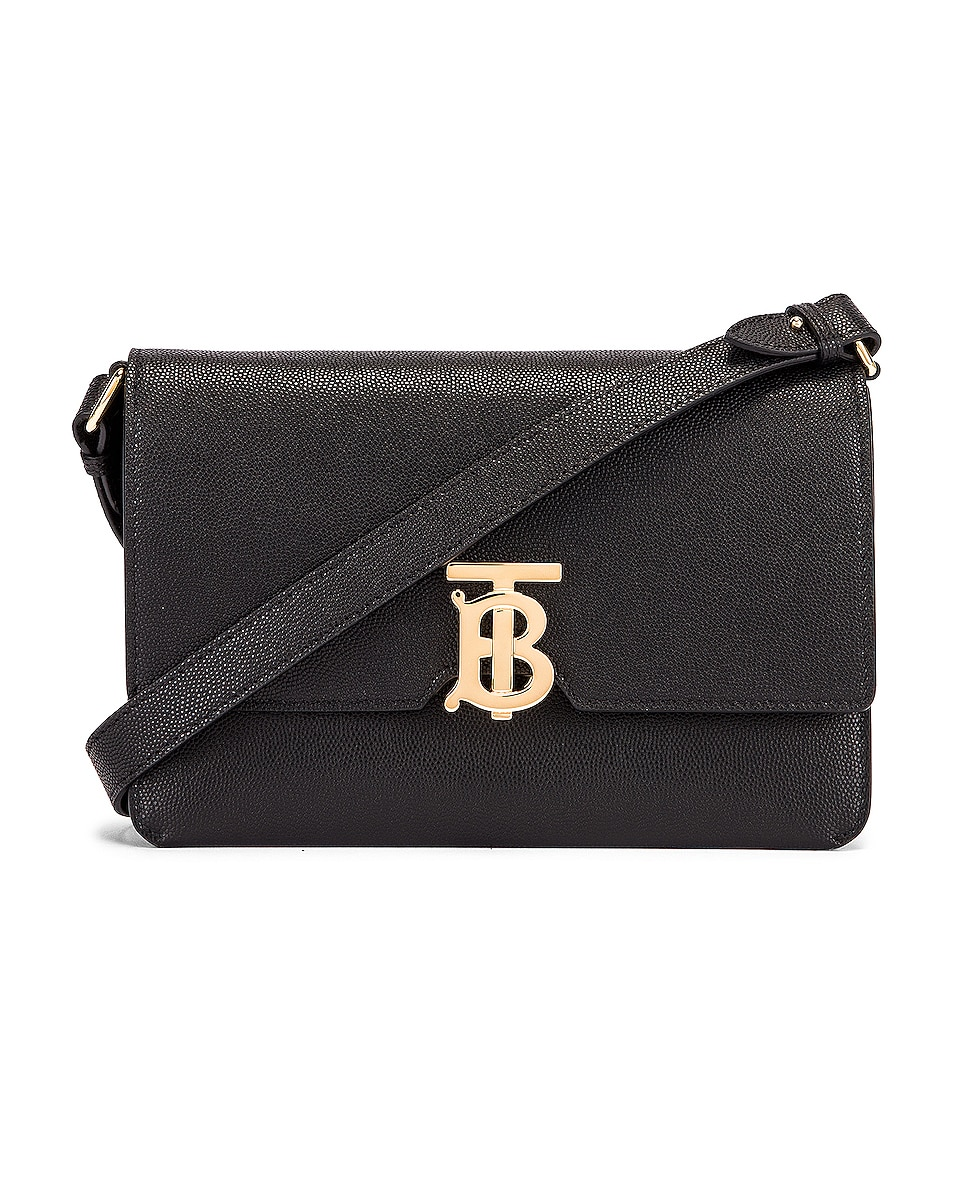 Image 1 of Burberry Albion Small Grainy Bag in Black