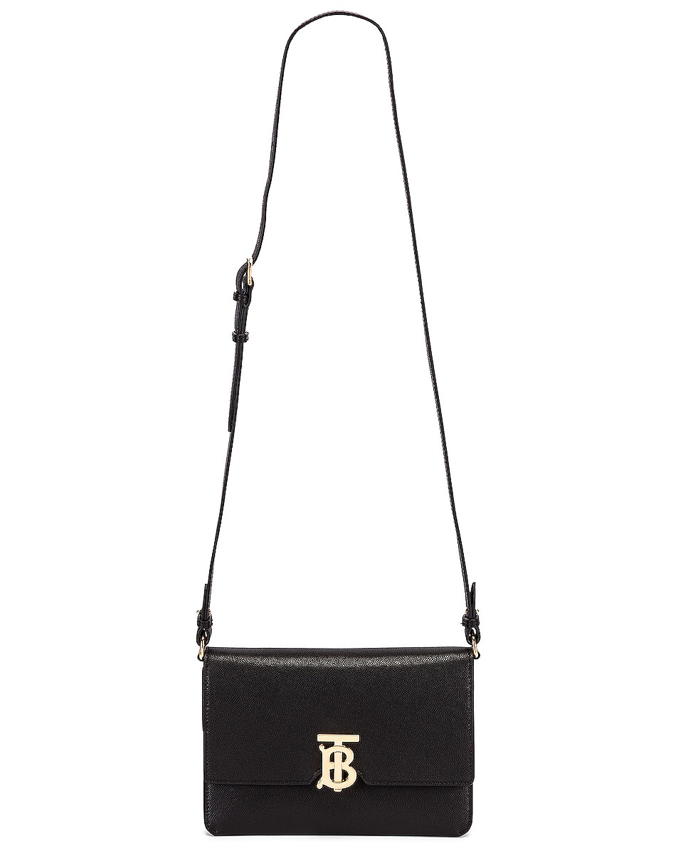 Image 5 of Burberry Albion Small Grainy Bag in Black