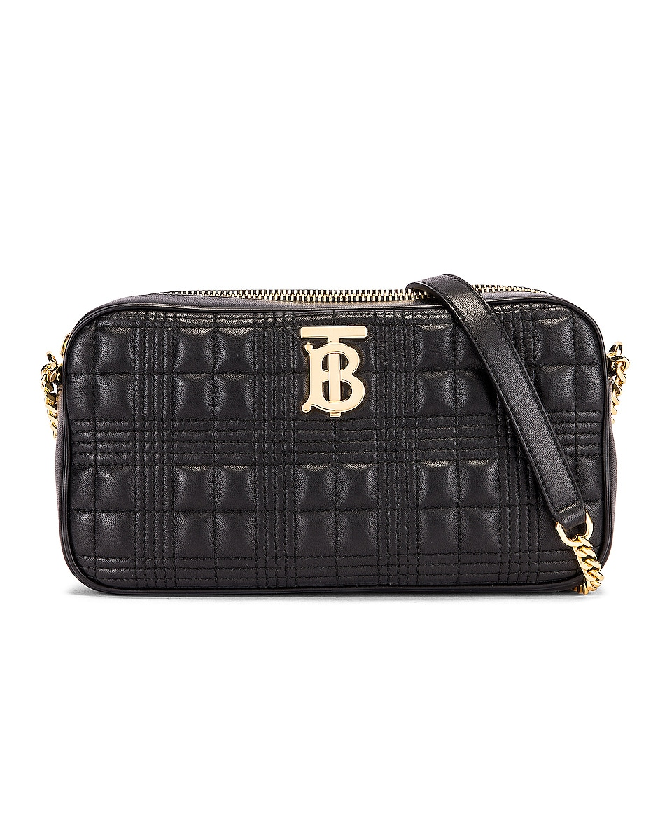 Image 1 of Burberry Small Leather Quilted Check Elongated Camera Bag in Black