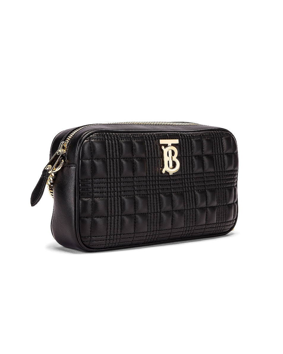 Image 4 of Burberry Small Leather Quilted Check Elongated Camera Bag in Black