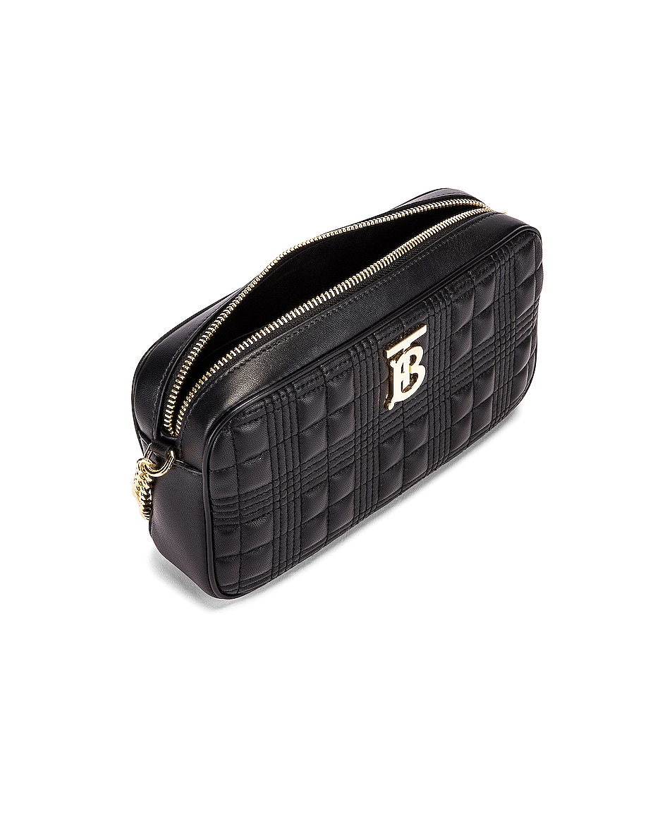Image 5 of Burberry Small Leather Quilted Check Elongated Camera Bag in Black