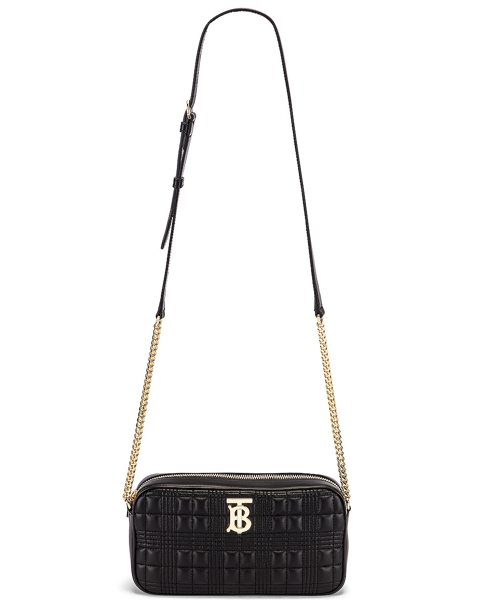 Image 6 of Burberry Small Leather Quilted Check Elongated Camera Bag in Black