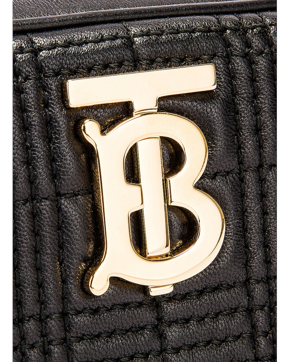 Image 8 of Burberry Small Leather Quilted Check Elongated Camera Bag in Black