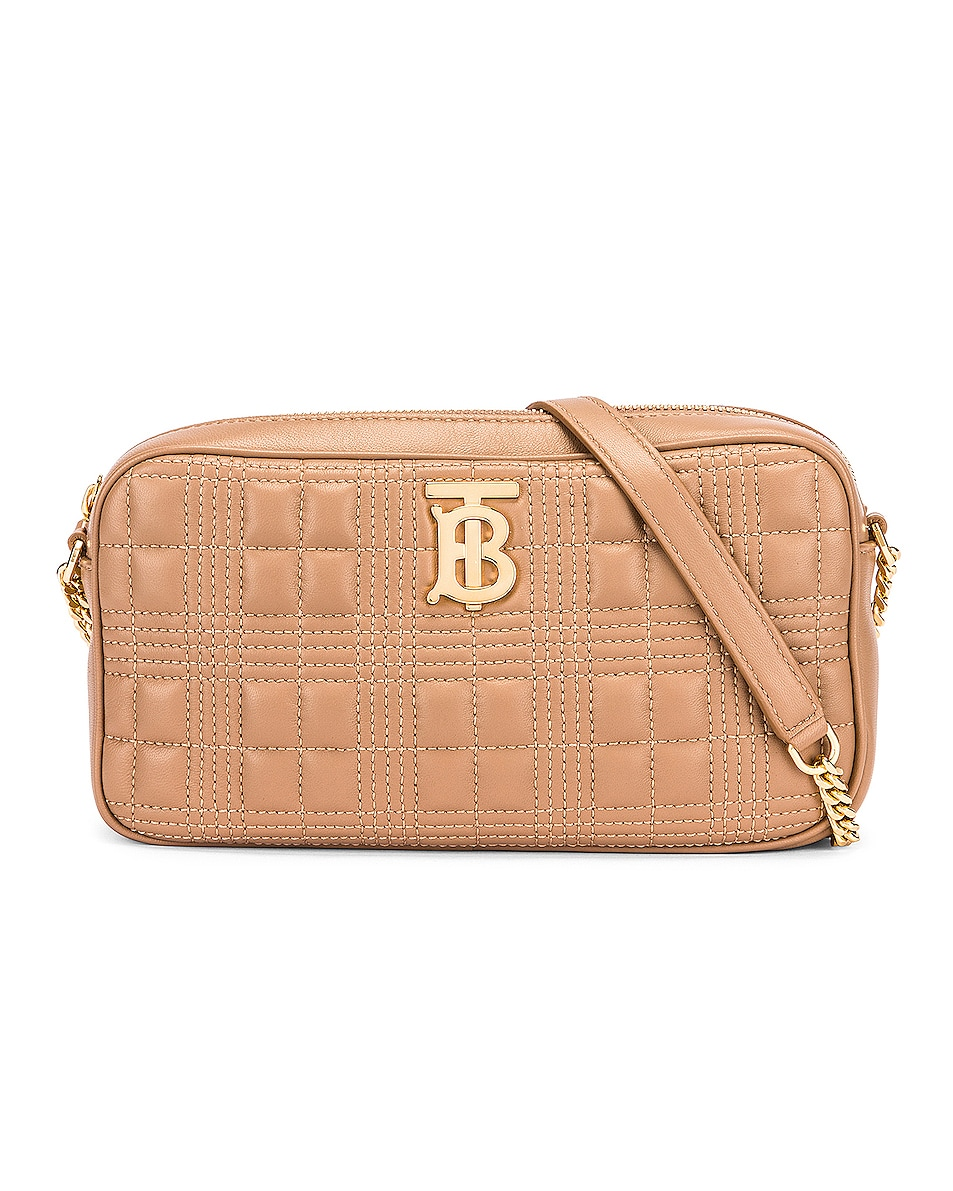 Image 1 of Burberry Small Leather Quilted Check Elongated Camera Bag in Soft Camel