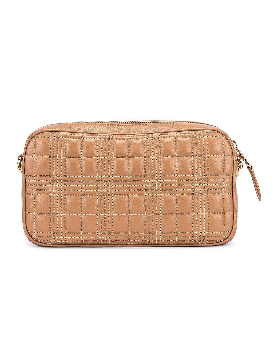 Image 2 of Burberry Small Leather Quilted Check Elongated Camera Bag in Soft Camel