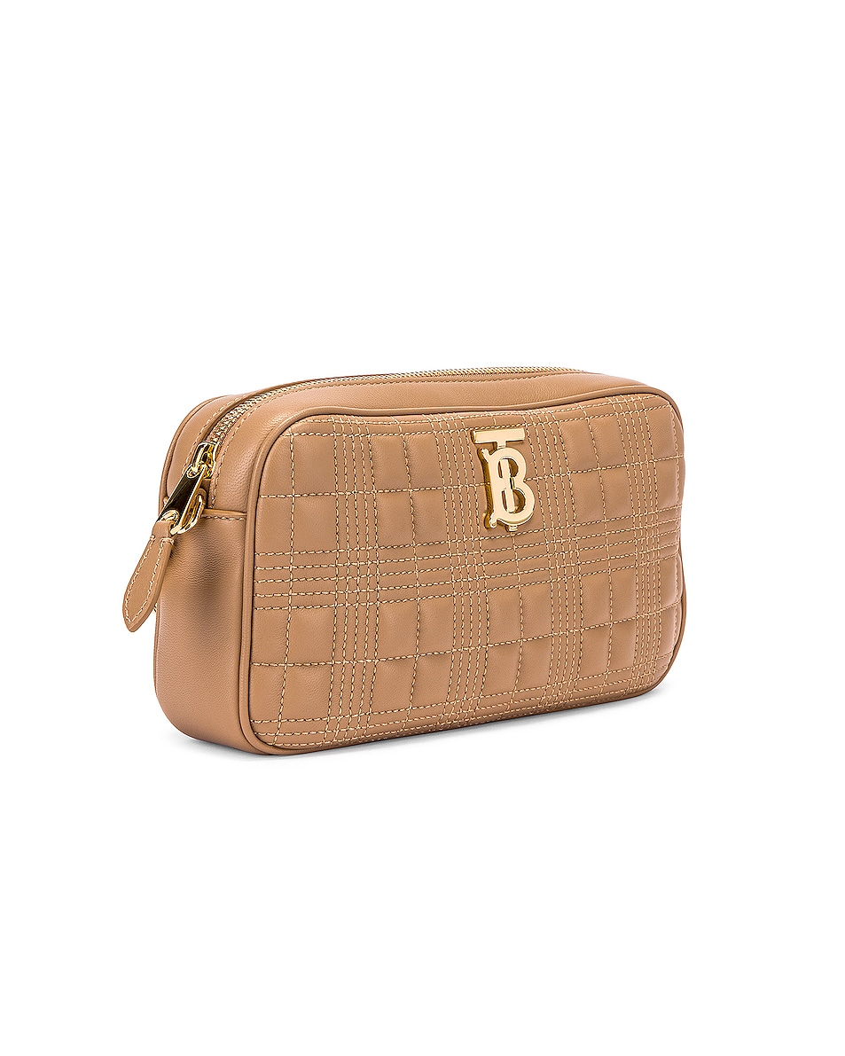 Image 3 of Burberry Small Leather Quilted Check Elongated Camera Bag in Soft Camel
