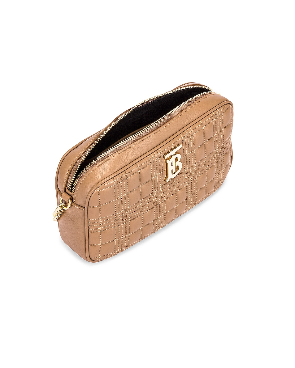 Image 4 of Burberry Small Leather Quilted Check Elongated Camera Bag in Soft Camel