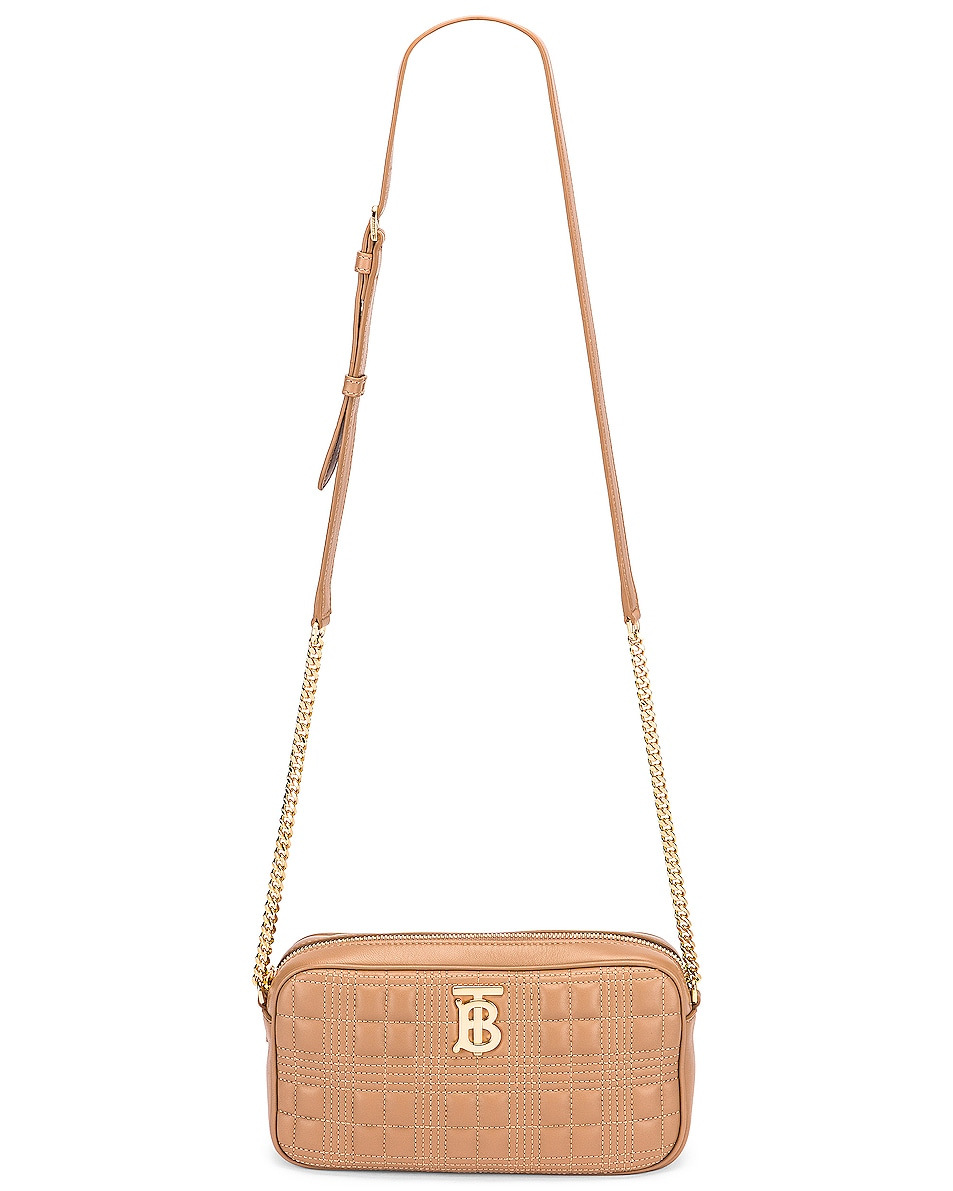 Image 5 of Burberry Small Leather Quilted Check Elongated Camera Bag in Soft Camel