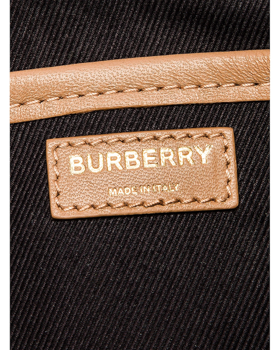 Image 6 of Burberry Small Leather Quilted Check Elongated Camera Bag in Soft Camel