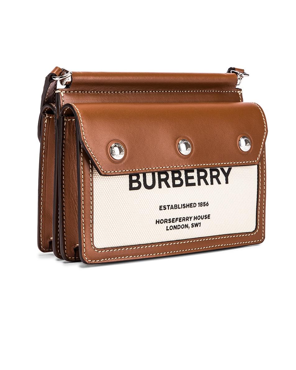 Image 4 of Burberry Baby Title Pocket Bag in Natural & Malt Brown