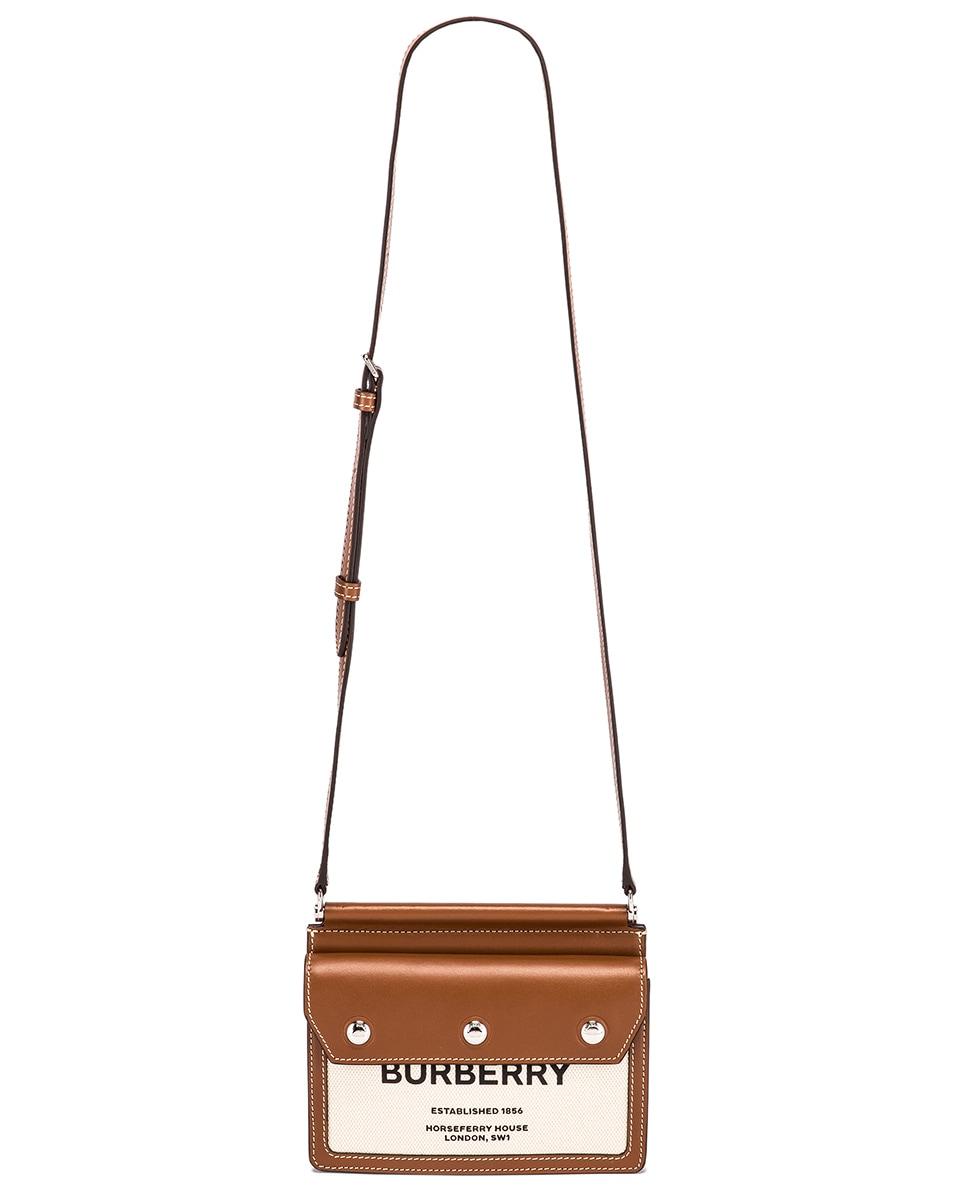 Image 6 of Burberry Baby Title Pocket Bag in Natural & Malt Brown