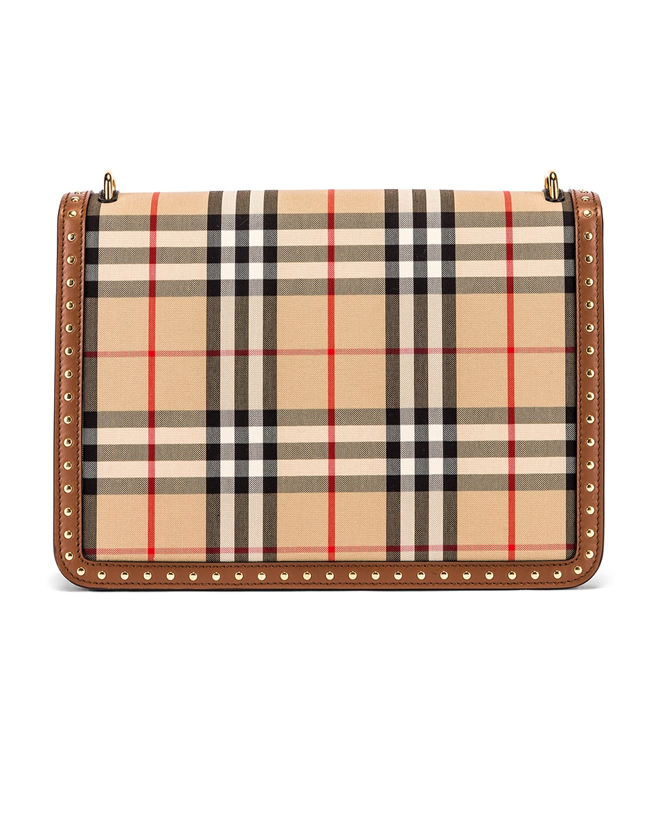 Image 3 of Burberry Medium D Ring Vintage Check Stud Crossbody Bag in Archive Beige