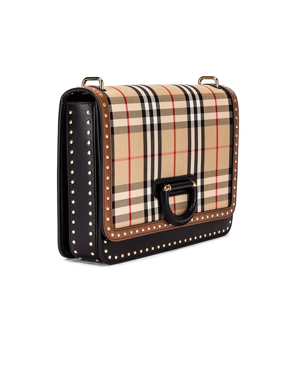 Image 4 of Burberry Medium D Ring Vintage Check Stud Crossbody Bag in Archive Beige
