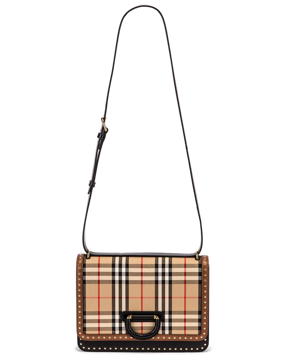 Image 6 of Burberry Medium D Ring Vintage Check Stud Crossbody Bag in Archive Beige