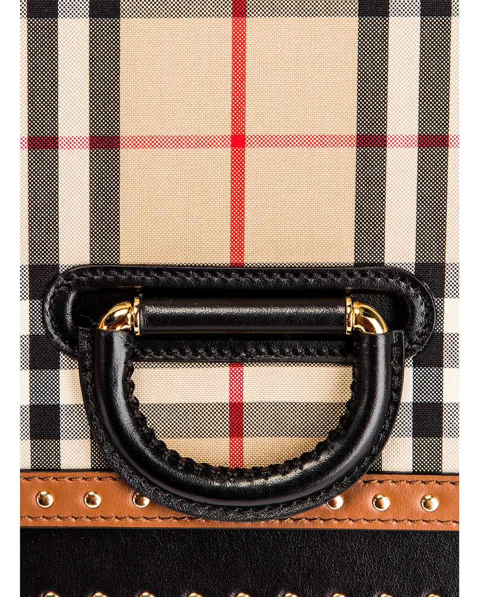 Image 8 of Burberry Medium D Ring Vintage Check Stud Crossbody Bag in Archive Beige