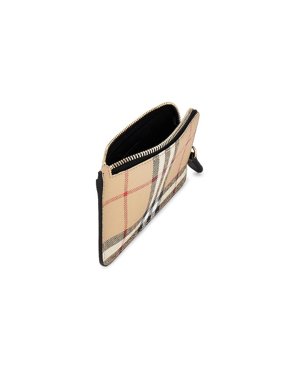 Image 4 of Burberry Somerset Vintage Check Zip Card Wallet in Black