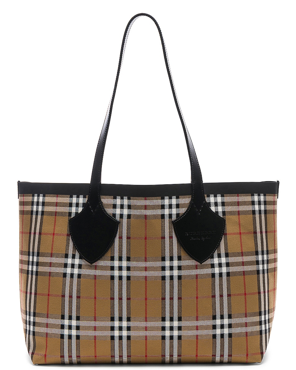 Image 1 of Burberry Reversible Vintage Check Tote in Yellow & Bright Red