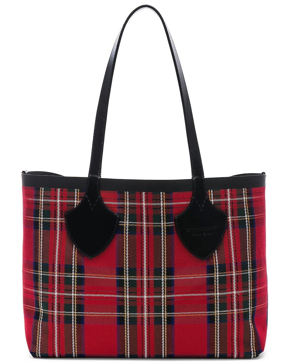 Image 3 of Burberry Reversible Vintage Check Tote in Yellow & Bright Red