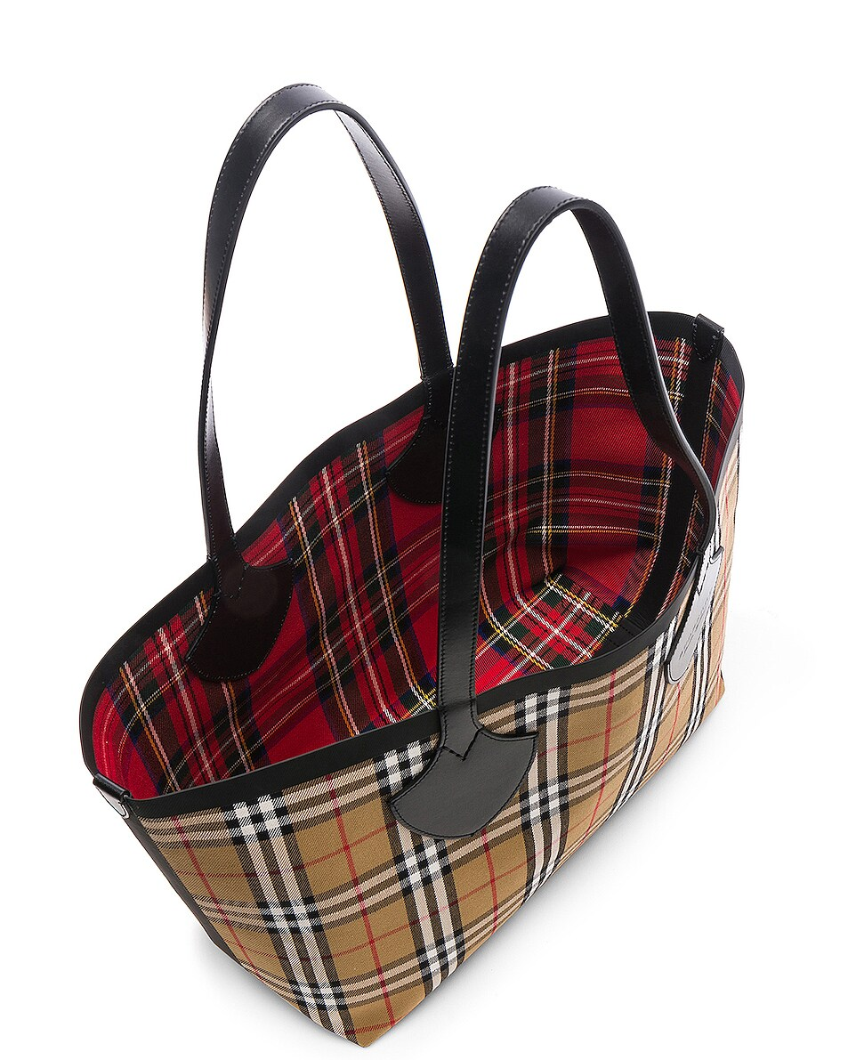 Image 6 of Burberry Reversible Vintage Check Tote in Yellow & Bright Red