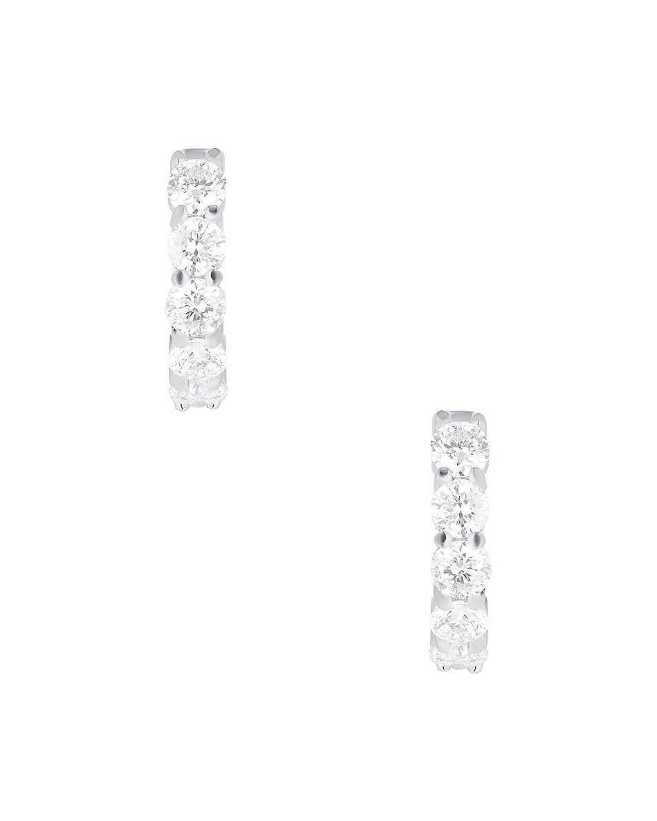 Image 3 of Carbon & Hyde Sparkler Huggies in 14K White Gold