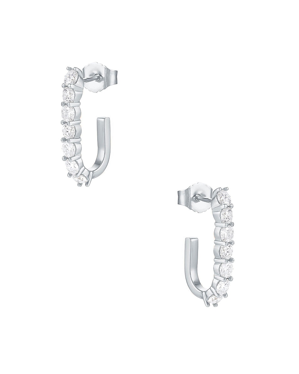 Image 1 of Carbon & Hyde Sparkler Pin Earrings in 14K White Gold