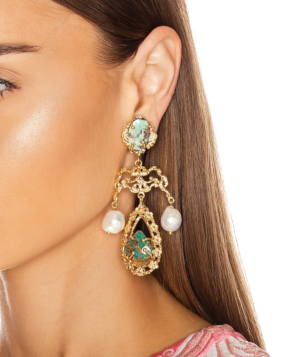 Image 2 of Christie Nicolaides Liliana Earrings in Gold & Turquoise