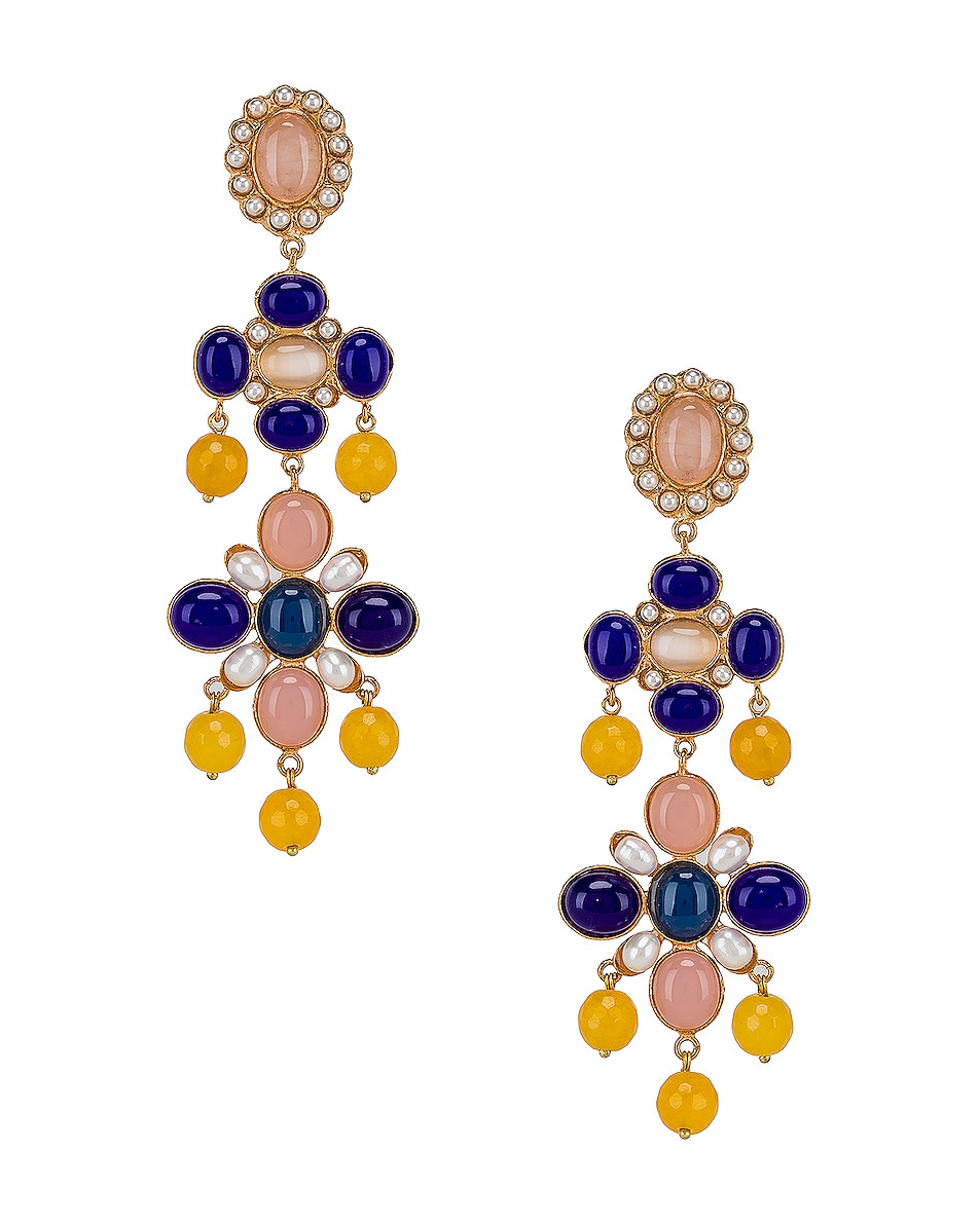 Image 1 of Christie Nicolaides Julietta Earrings in Blue & Pink
