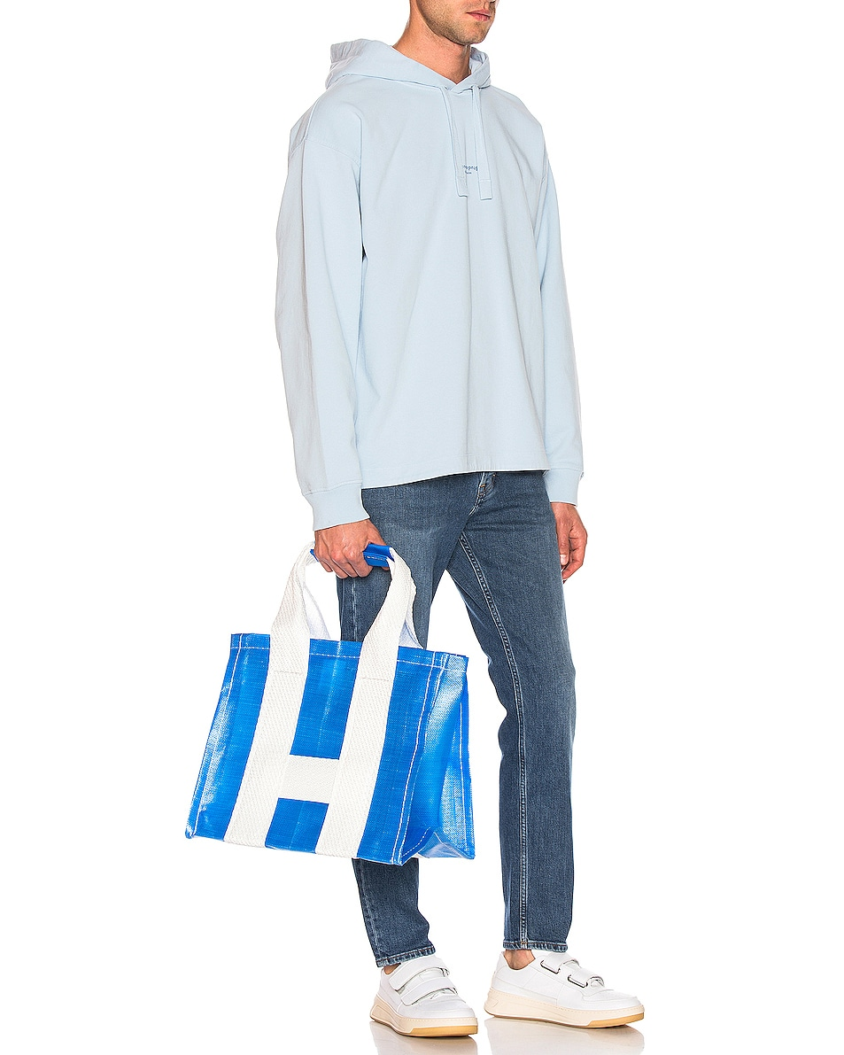 Image 2 of Comme Des Garcons SHIRT Large Tote Bag in Blue & White