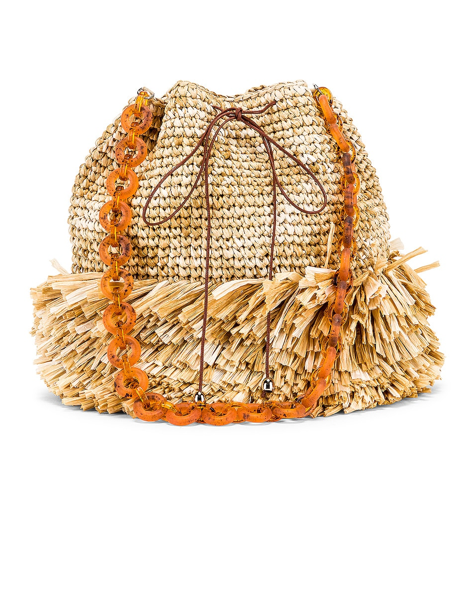 Image 1 of Carolina Santo Domingo Corallina Large Bucket in Raffia Natural