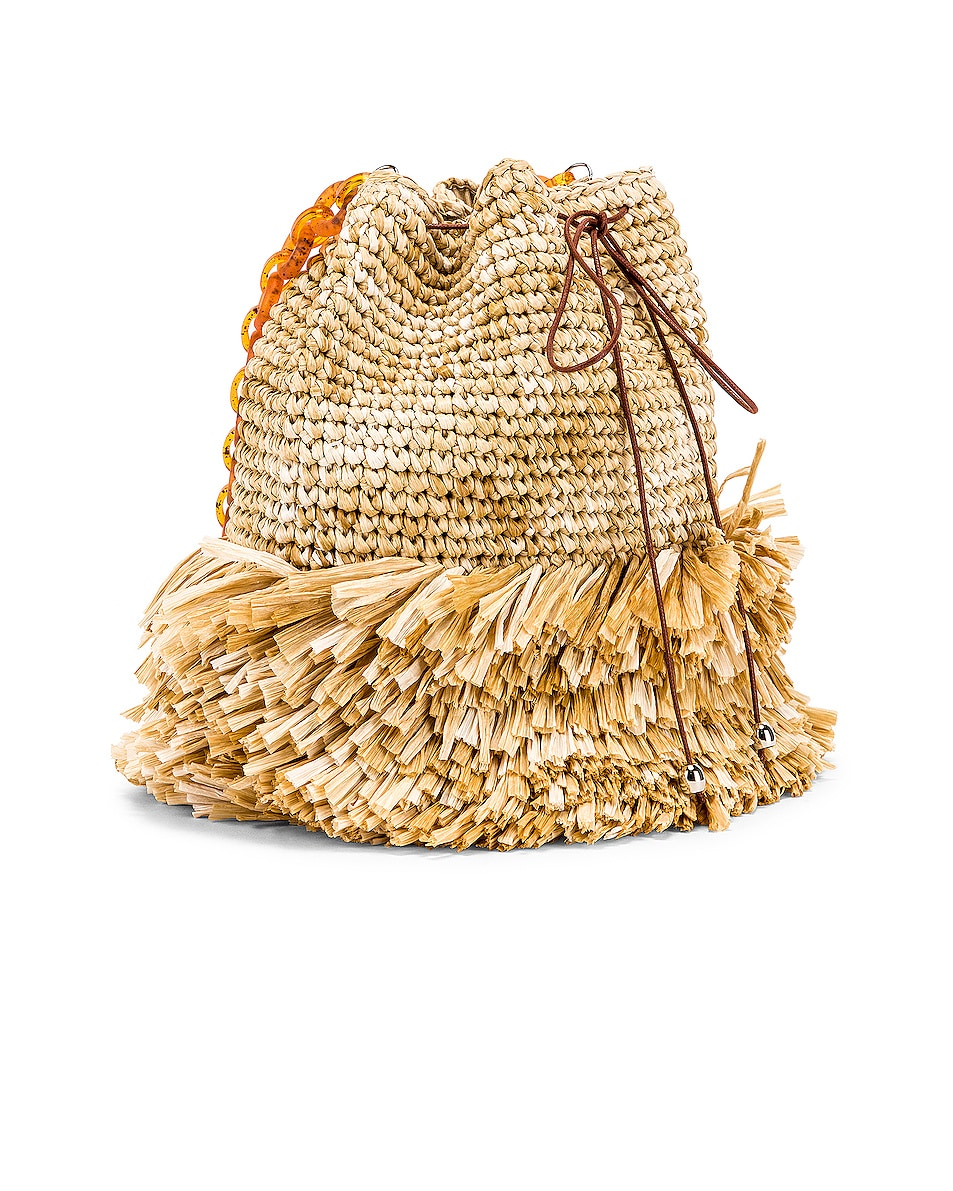 Image 4 of Carolina Santo Domingo Corallina Large Bucket in Raffia Natural