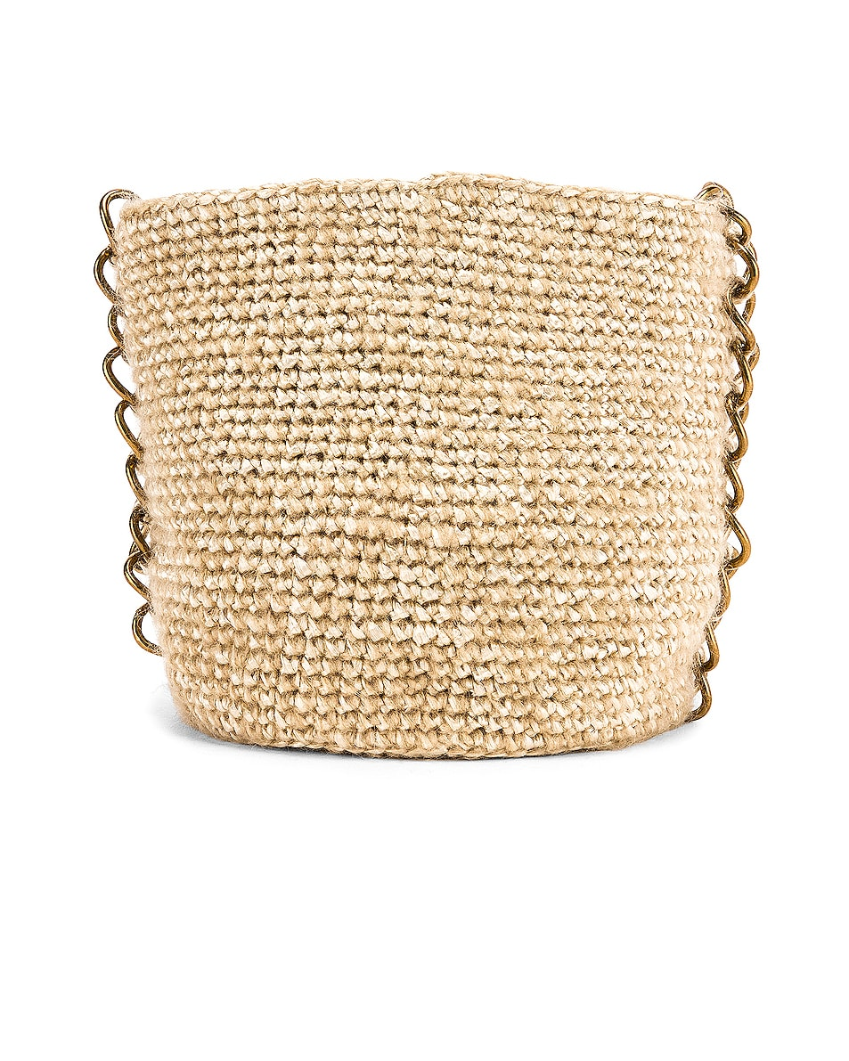 Image 2 of Carolina Santo Domingo Small Raffia Bucket Bag in Mohair Pearl