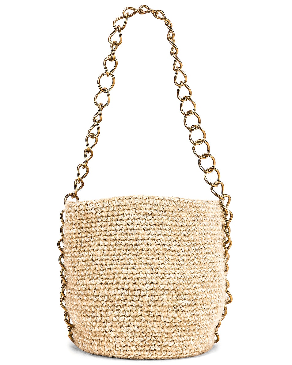 Image 5 of Carolina Santo Domingo Small Raffia Bucket Bag in Mohair Pearl