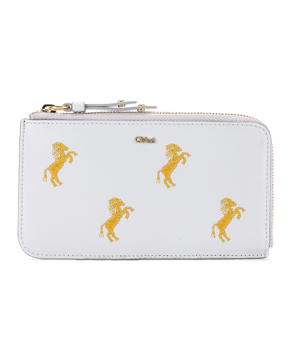 Image 1 of Chloe Signature Embroidered Horses Zip Card Case in Light Cloud