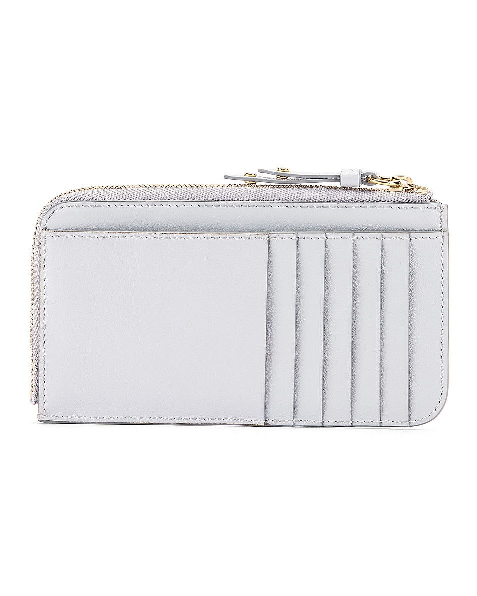 Image 2 of Chloe Signature Embroidered Horses Zip Card Case in Light Cloud