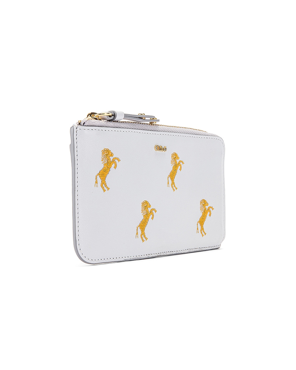 Image 3 of Chloe Signature Embroidered Horses Zip Card Case in Light Cloud