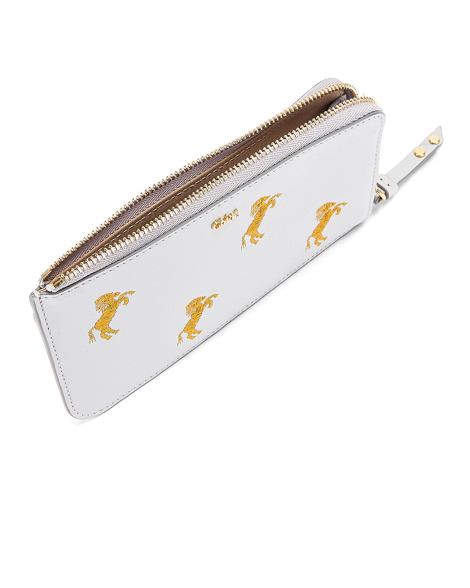 Image 4 of Chloe Signature Embroidered Horses Zip Card Case in Light Cloud