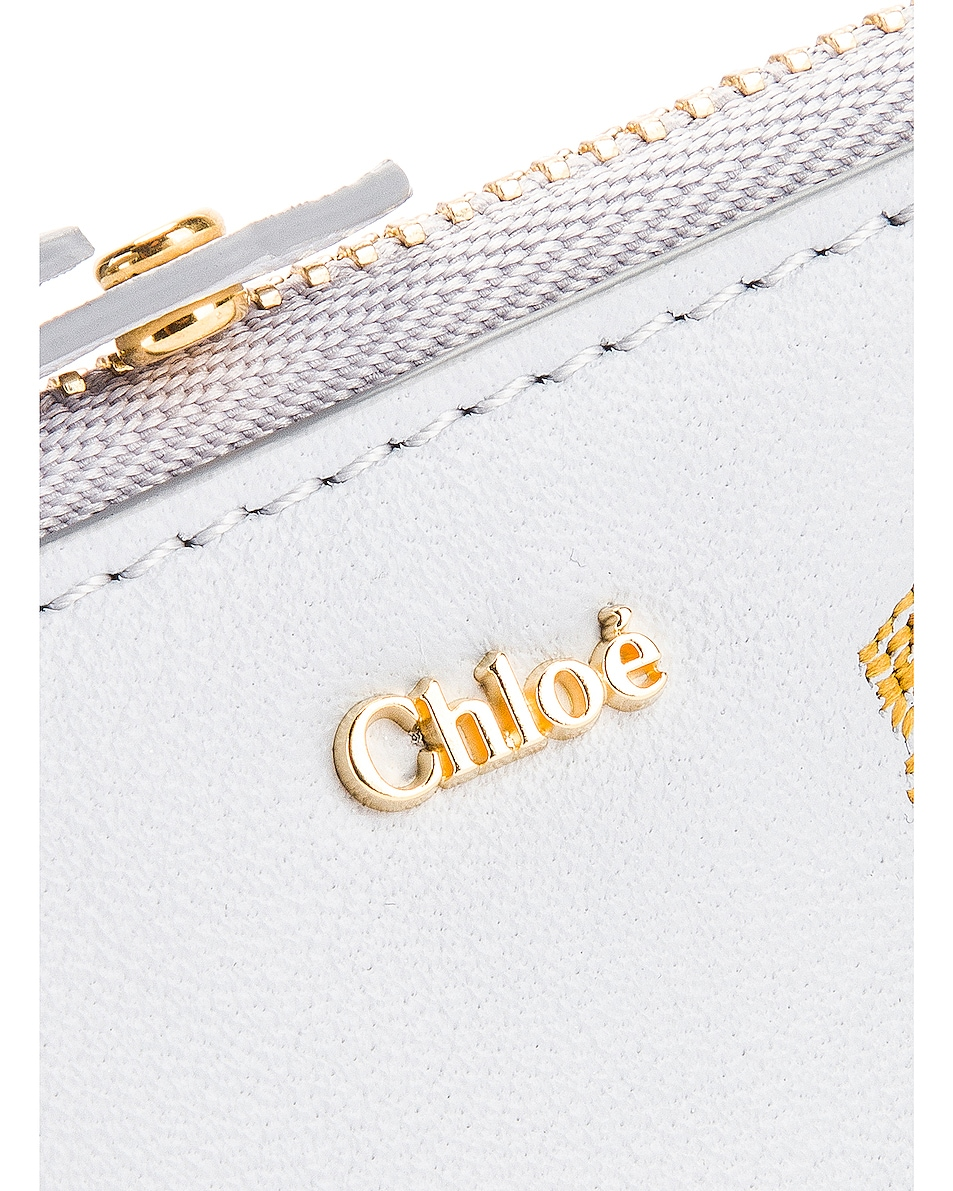 Image 5 of Chloe Signature Embroidered Horses Zip Card Case in Light Cloud
