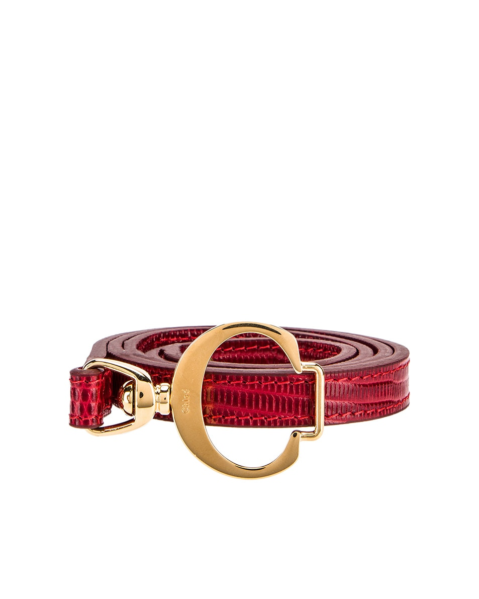 Image 1 of Chloe C Skinny Belt in Dusky Red