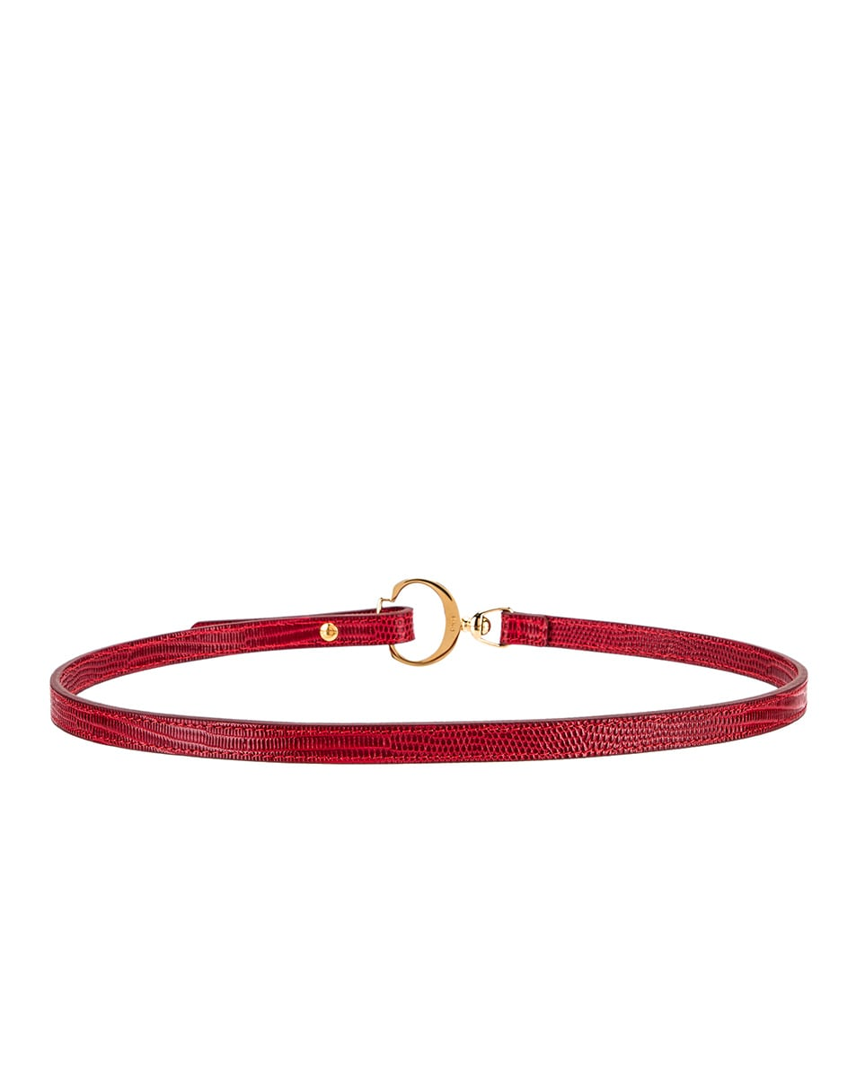 Image 3 of Chloe C Skinny Belt in Dusky Red